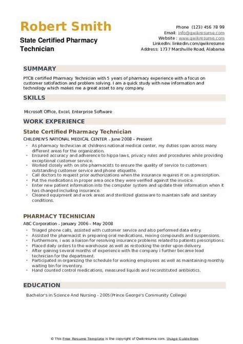 Certified Pharmacy Technician Resume by Certified Pharmacy Technician Resume Sles Qwikresume