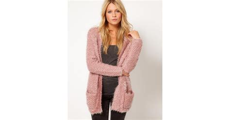 Asos Collection Asos Fluffy Oversized Cardigan In Pink