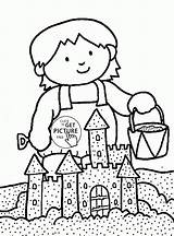 Coloring Pages Summer Sand Castle Sandcastle Drawing Nature Getdrawings Printables Wuppsy sketch template