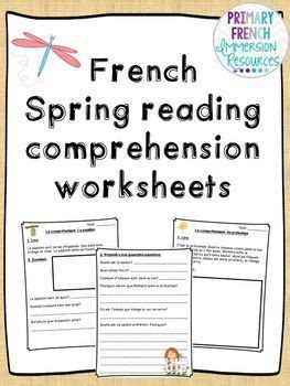 french spring reading comprehension sheets teaching