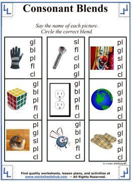 consonant blendsworksheets lessons