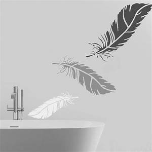 Deco Murale Plume : feather stencil wall art stencil home wall d cor ~ Teatrodelosmanantiales.com Idées de Décoration