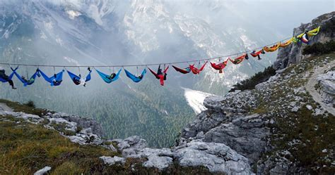 Rugged Boots Men by Dozing Daredevils Hammocks Gather Over Mountain Chasm