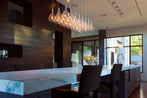 Modern Kitchen Island Light   Clear Teardrop Glass Linear