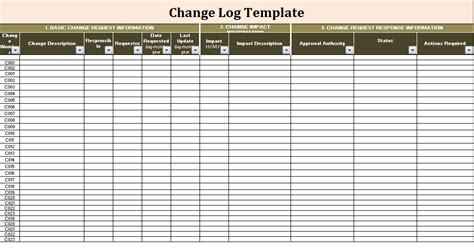change log change log template free log templates
