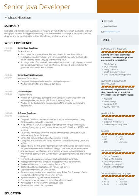 java developer resume samples  templates visualcv