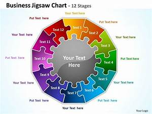 Business Jigsaw Chart 12 Stages Powerpoint Templates