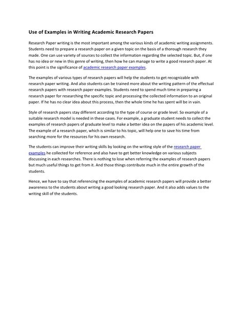 examples  writing academic research papers