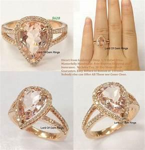 pear morganite engagement ring pave diamond wedding 14k With rose gold morganite wedding rings