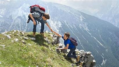 Climbing Mountain Mountains Boys Helping Guides Teenage