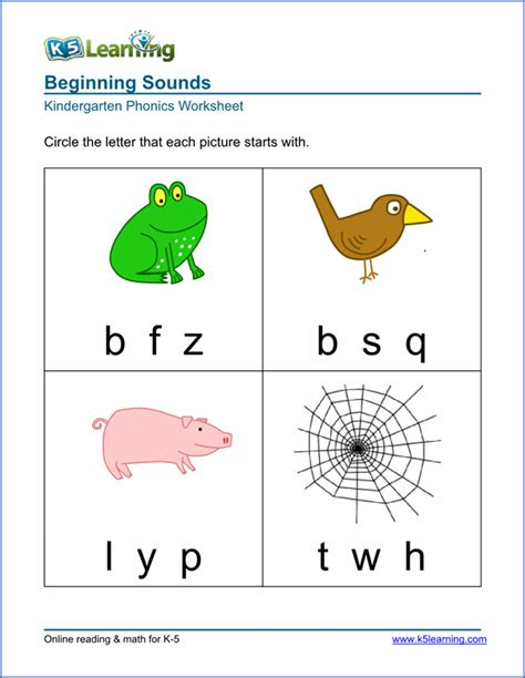 Free Preschool & Kindergarten Phonics Worksheets  Printable  K5 Learning