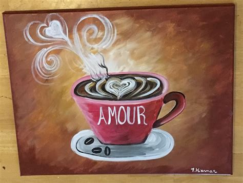 Beginners can learn how to paint a coffee cup with acrylics on canvas. DIY Coffee Art Acrylics on Canvas - Step By Step Painting