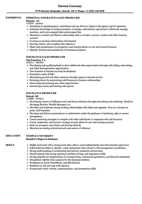 20113 professional resumes exles producer resume exles 28 images insurance producer