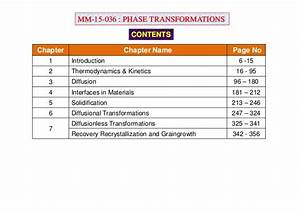 Phase Transformations Lecture Notes