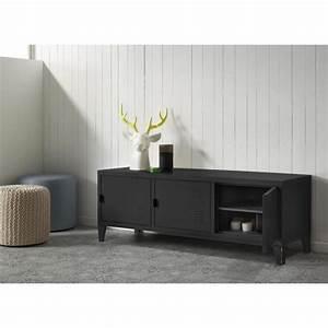 Meuble Tv Metal : college meuble tv 120 cm m tal noir achat vente meuble tv college meuble tv 120 cm m tal ~ Teatrodelosmanantiales.com Idées de Décoration