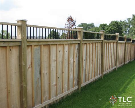 6x6 Trellis by Board Batten Fence With 6x6 Posts Metal Detail Top