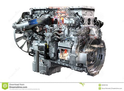 heavy truck diesel engine isolated royalty  stock