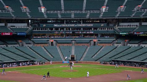 baltimore orioles play in empty stadium videos photos