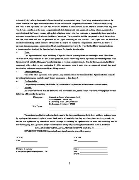 standard playeragent contract