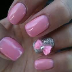 Bow ideas baby pink and silver color nail art trendy