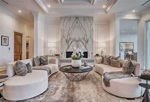 Upcale, Luxury, Beige, Living, Room, Decor, With, Curved, Sofas, Modern, Style, Oval, Sofa, Curve