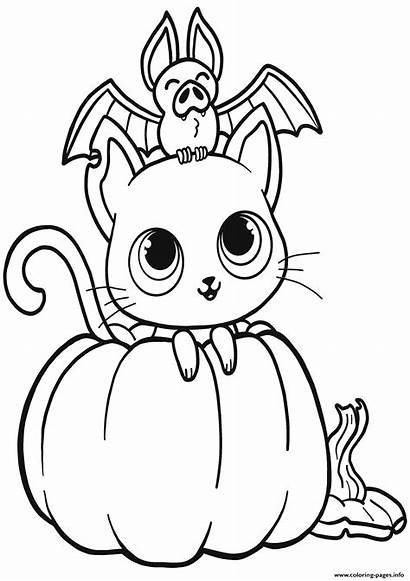 Coloring Halloween Pumpkin Cat Pages Bat Printable