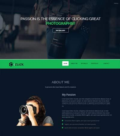 iclick photography bootstrap  website template