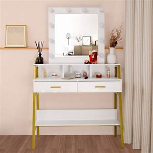 Ktaxon, Vanity, Table, With, Lighted, Mirror, Makeup, Vanity, Dressing, Table, With, Lights, And, Drawers