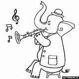 Clarinet Coloring Playing Pages Elephant Thecolor Results sketch template