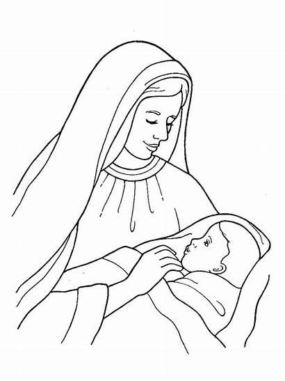 Jesus Mary Coloring Pages Birth Drawing Draw