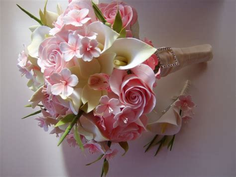 clay bridal bouquet cherry blossom bouquet   order