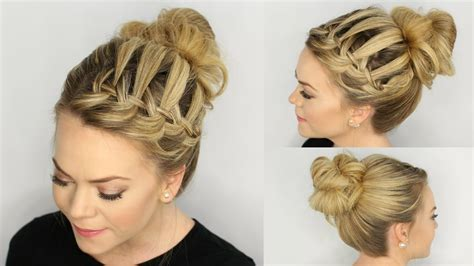 waterfall braid messy bun youtube