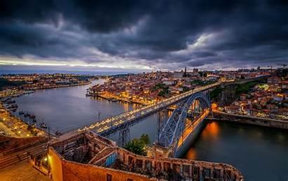 Portugal Porto Night Bridge River Luis 4k