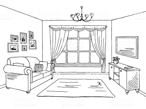 living room graphic black white interior sketch
