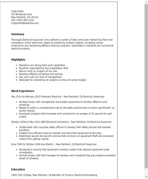 resume exle 38 electrician resume objective
