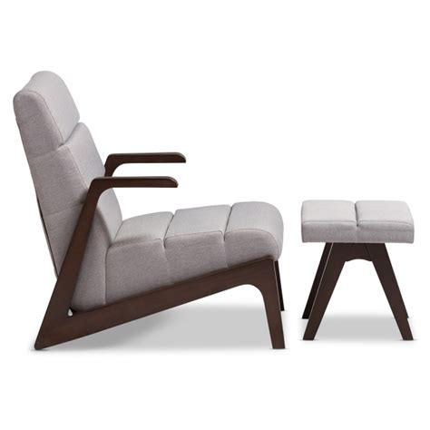 lazzaro mid century modern chaise lounge chair and ottoman