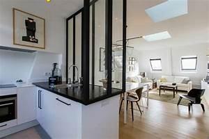 quelques idees pour delimiter la cuisine du salon With wonderful plan maison en u ouvert 9 cuisine avec verriare