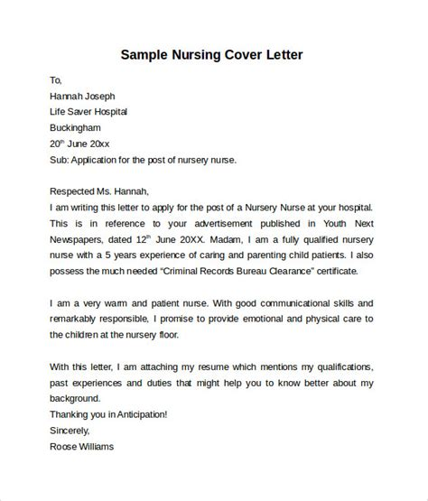 nursing cover letter template   samples examples