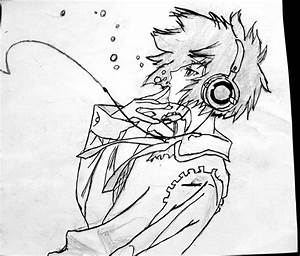 Cool Drawings For Boys Anime Boy With Headphones Drawing ...