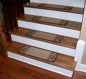 Carpet stair treads caramel scroll border dean for Carpet stair treads