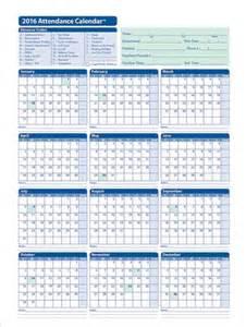 Attendance Yearly Calendar 2016