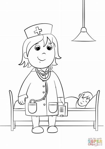 Doctor Coloring Woman Pages Printable Professions Drawing