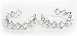 Unique Asscher Cut Diamond Hoop Earrings at 1stdibs