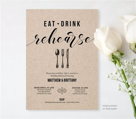 Rehearsal Dinner Invitation Template Printable Rustic