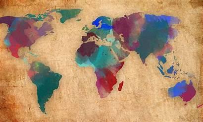 Map Desktop Laptop Pc 1080p Background Watercolor