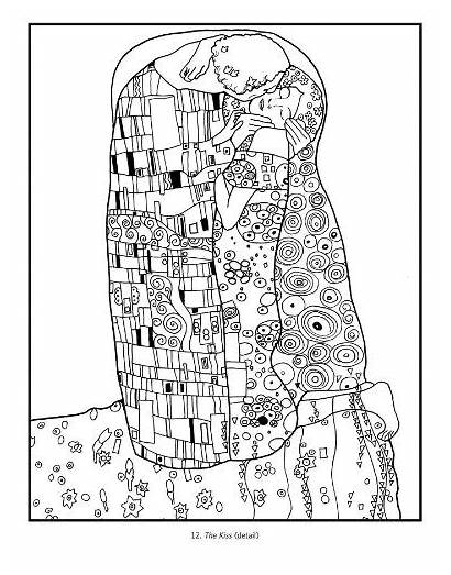 Klimt Coloring Gustav Door Kiss Pages Colouring