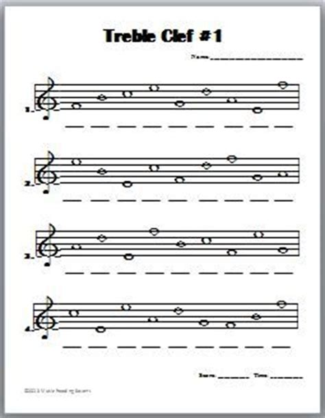 treble clef notes worksheet bing images  theory