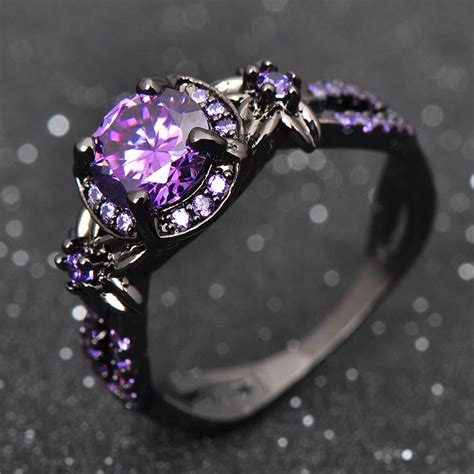 Black Gold Filled Purple Amethyst Ring  Ess6 Fashion. Sweet Wedding Wedding Rings. American Military University Rings. Dual Band Wedding Rings. Oak Leaf Wedding Rings. 3 Band Engagement Rings. Majestic Engagement Rings. Gold Engagement Rings. Mercury Dime Rings