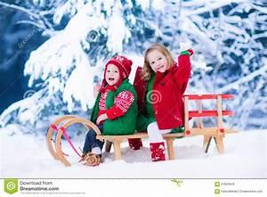 Kids Enjoying Sleigh Ride On Christmas Day Stock Image ...