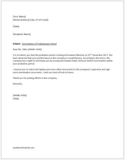 employment termination letter  probation period